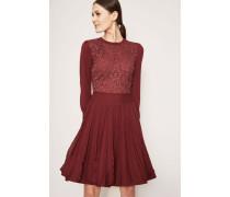 Kombiniertes Strick-Kleid mit Spitze Bordeaux