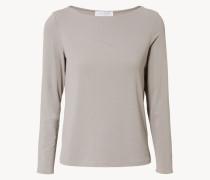 Basic Shirt mit Rundhals-Ausschnitt Taupe