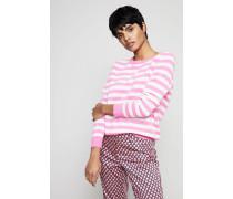 Gestreifter Cashmere-Pullover Pink/Crèmeweiß