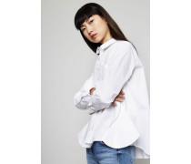 Oversized Bluse mit seitlichen Zippern Weiß