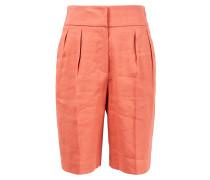 Bermuda Shorts aus Leinen mit Bundfalte Rost