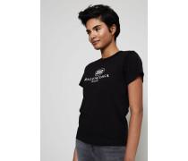 T-Shirt mit frontalem Aufdruck Schwarz