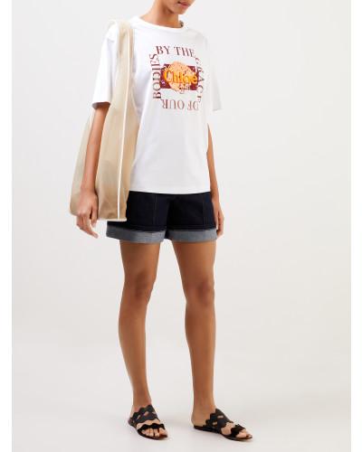 T-Shirt aus Baumwolle mit Print Weiß/Rot