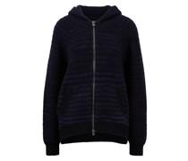 Cashmere-Pullover 'Viosa' mit Kapuze und Streifen Dunkelblau/Schwarz