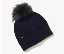 Woll-Mütze mit Bommel Dunkelblau