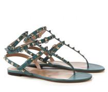 Nietenbesetzte Sandale 'Rockstud' aus Leder Türkis