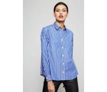 Gestreifte Bluse mit Plissee-Details Weiß/Blau