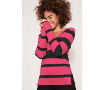 Gestreifter Ripp-Pullover Pink/Multi