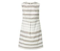 Leichtes Baumwolkleid mit Streifen Taupe/Weiß