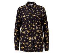 Bluse mit floralem Print Schwarz/Gelb