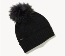 Woll-Mütze mit Bommel Schwarz