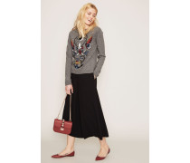 Woll-Cashmere-Pullover mit Stickerei Grau/Multi