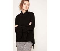Cashmere-Pullover mit Binde-Detail am Ärmel Schwarz