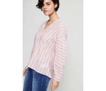 Gestreifte Baumwoll-Bluse Rot/Weiß