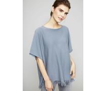 Oversize Pullover mit Fransen Taubenblau