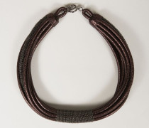 Halskette aus Metallic-Leder Dunkles Antik