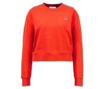 Baumwoll-Sweatshirt mit roter Logo Applikation