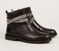 Flacher Boot mit Perlen-Detail '7 Fashion Street' Schwarz