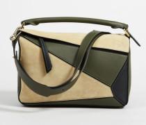 Tricolor Handtasche 'Puzzle Bag Medium' Gold/Green