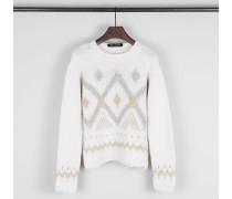 Handstrick Pullover 'Serafine' Bianco S