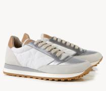 Sneaker mit glänzendem Element Weiß/Nude