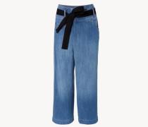 Weite Jeans mit Gürtel Blau