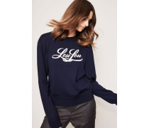 Pullover mit gestickter Schrift 'LouLou' Marineblau