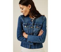 Jeansjacke im Used-Look Mittelblau
