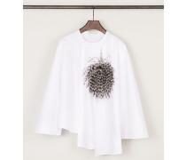 Bluse mit Straußenfeder-Detail Weiß