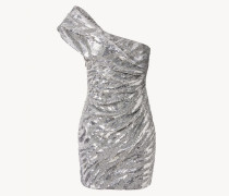 Drapiertes One-Shoulder-Minikleid mit Pailetten Silber