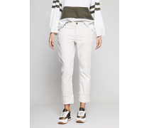 Gerade Jeans mit Beinumschlag in hellem Ivory