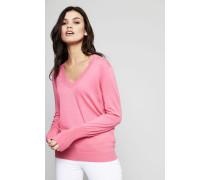Klassischer Baumwoll-Cashmere-Pullover Himbeere