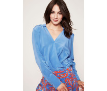 Bluse 'Collared Cross-Over Blouse' Denim