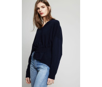 Oversized Woll-Cashmere-Pullover Dunkelblau