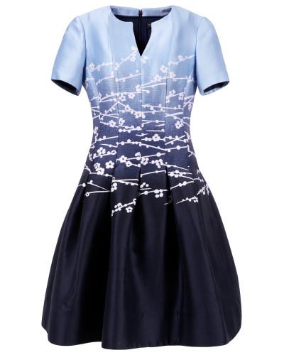 Midikleid Jacquard mit Kirschblütenprint Blau/Weiß