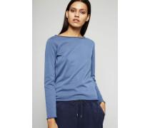 Leichter Baumwoll-Pullover Indigo Blau