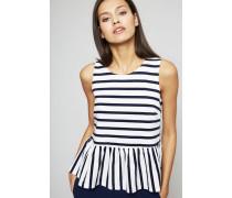 Streifenshirt mit Schößchen Blau/Weiß
