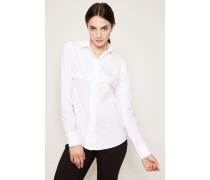 Baumwoll-Bluse mit verdeckter Knopfleiste Weiß
