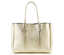Shopper mit Flechtdetails Goldmetallic