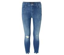 Jeans 'Skinny Leg' im Destroyed-Look Mittelblau