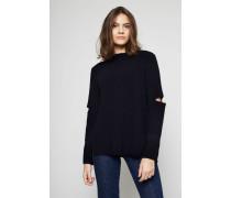 Woll-Pullover mit Cut-Outs am Arm Marineblau