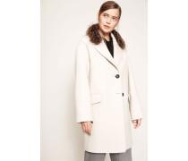 Woll-Mantel mit abnehmbaren Fellkragen Beige