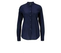 Seiden-Elasthan-Bluse mit Stehkragen Dunkelblau