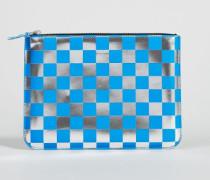Karierte Leder-Clutch Blau/Silber