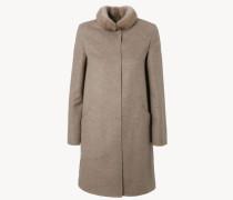 Feiner Cashmere-Woll-Mantel mit Nerz-Kragen Taupe
