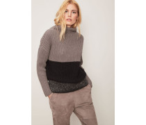 Tricolor-Grobstrick-Pullover Taupe/Multi