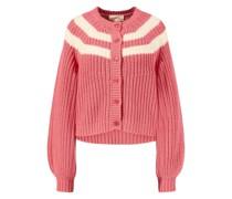 Baumwoll-Cardigan 'Stripe Sophomore' Rosé/Weiß