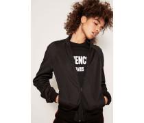 Sweatshirtjacke mit Logostreifen Schwarz