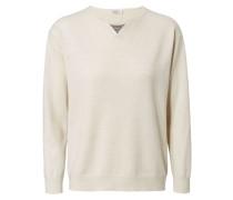 Cashmere-Pullover mit Perlenverzierung Beige