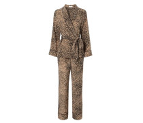 Pyjama-Set 'Odette' mit Leopardenprint Beige/Schwarz